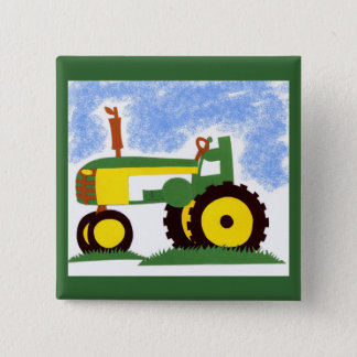 Tractor under Blue Sky 15 Cm Square Badge