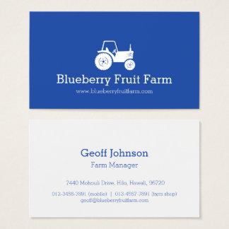 Tractor white blue modern farm business card