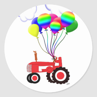Tractor with Balloons Classic Round Sticker