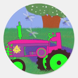 Tractors and Dragonflies Round Sticker