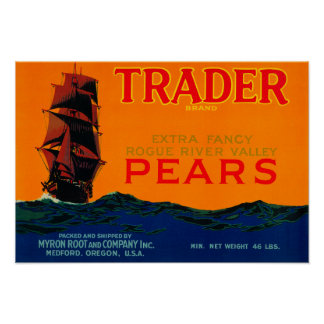 Trader Pear Crate LabelMedford, OR Poster