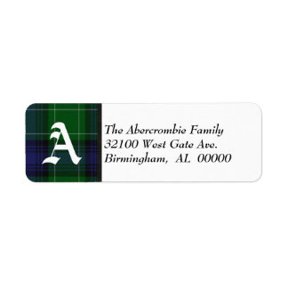 Traditional Abercrombie Tartan Plaid Monogram Return Address Label