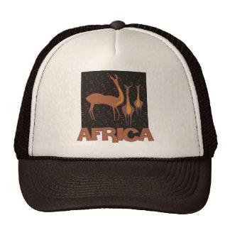 Traditional African brown artwork of antelope Cap