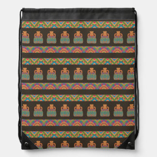 Traditional African Tribal Pottery Pattern Drawstring Backpack