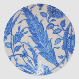 Traditional antique Blue and White Ottoman Ceramic Round Sticker