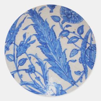 Traditional antique Blue and White Ottoman Ceramic Round Sticker