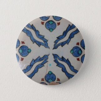 Traditional antique Ottoman tile 6 Cm Round Badge
