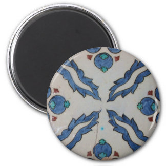 Traditional antique Ottoman tile 6 Cm Round Magnet