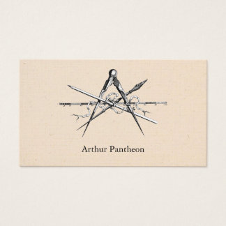 Traditional Architecture Drafting Tools Business Card