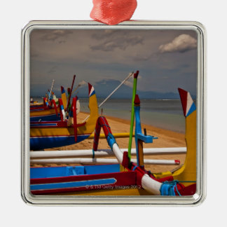Traditional Balanese fishing boats on beach near Christmas Ornament