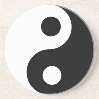 Traditional Black and White Yin Yang Pattern Beverage Coaster