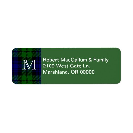 Traditional Black Watch Tartan Plaid Return Address Label