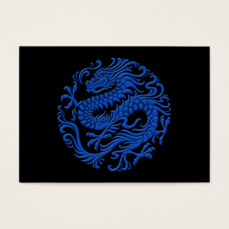 Traditional Blue and Black Chinese Dragon Circle Business Card