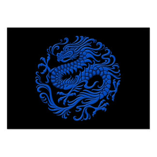 Traditional Blue and Black Chinese Dragon Circle Pack Of Chubby Business Cards