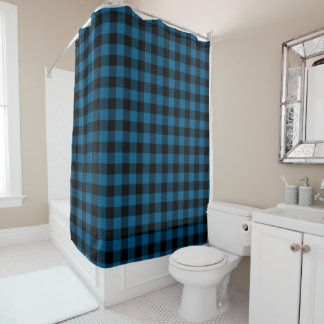 Traditional Blue Black Buffalo Check Plaid Pattern Shower Curtain