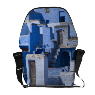 Traditional blue painted house, Jodphur Messenger Bag