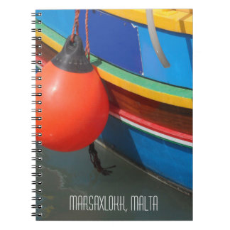 Traditional Blue Yellow Striped Fishing Boat Malta Notebook