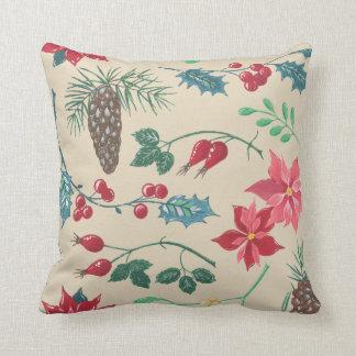 Traditional Botanical Christmas (beige) Cushion