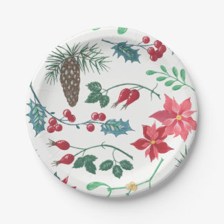 Traditional Botanical Christmas (white) Paper Plate