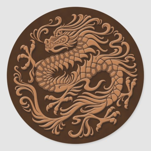 Traditional Brown Chinese Dragon Circle Stickers