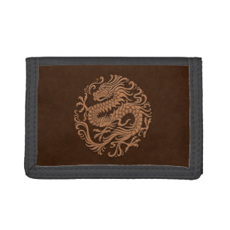 Traditional Brown Chinese Dragon Circle Trifold Wallet