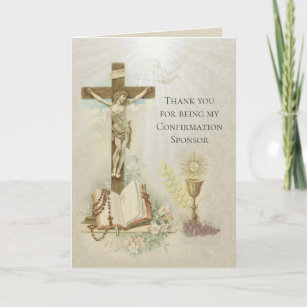 Traditional Catholic Confirmation RCIA Sponsor Thank You Card