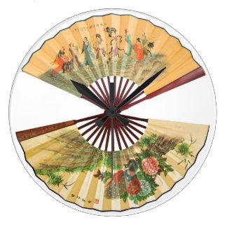Traditional Chinese fans Wallclocks