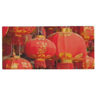 Traditional Chinese lantern hanging Wood USB 2.0 Flash Drive
