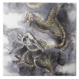 Traditional Chinese Painting, Year Of The Dragon 4 Large Square Tile