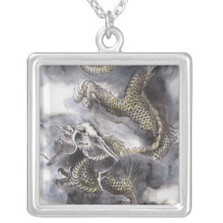 Traditional Chinese Painting, Year Of The Dragon 4 Silver Plated Necklace