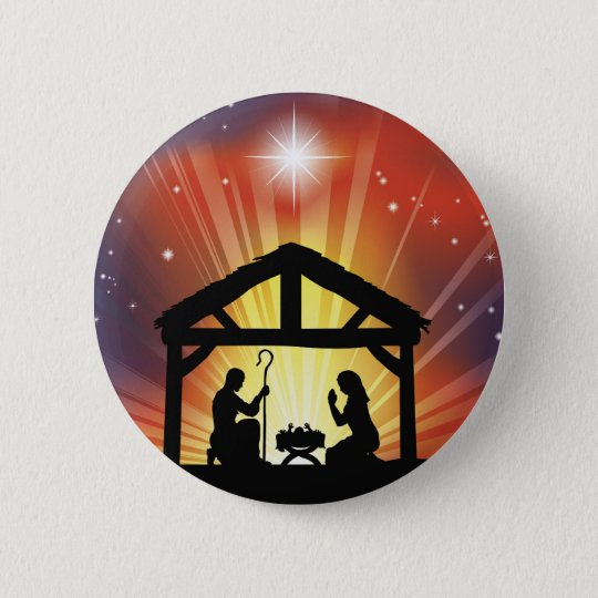 Traditional Christian Christmas Nativity Scene 6 Cm Round Badge