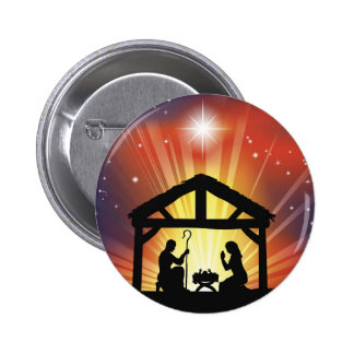 Traditional Christian Christmas Nativity Scene Buttons