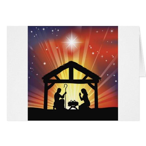 Traditional Christian Christmas Nativity Scene Greeting Card