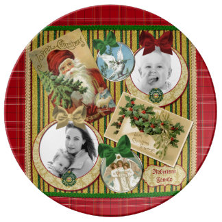 Traditional Christmas Classic Holiday Photo Frame Plate