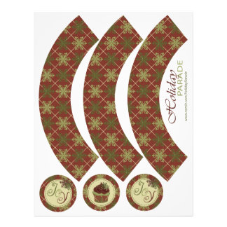 Traditional Christmas Cupcake Wrapper Flyers