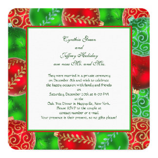 Traditional Christmas Newlywed Reception 13 Cm X 13 Cm Square Invitation Card