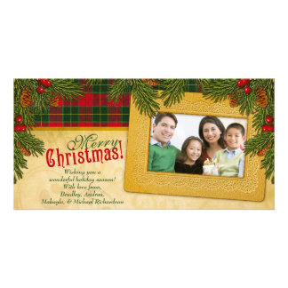 Traditional Christmas Plaid Family Photo Holiday Photo Cards