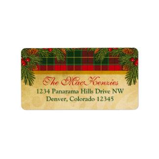 Traditional Christmas Plaid Xmas Return Address Label