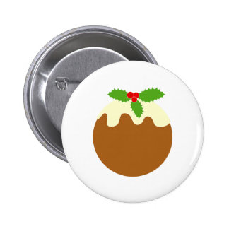 Traditional Christmas Pudding. On White. 6 Cm Round Badge
