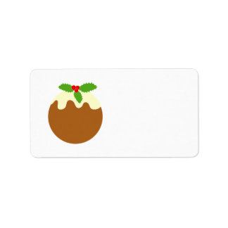 Traditional Christmas Pudding. On White. Address Label