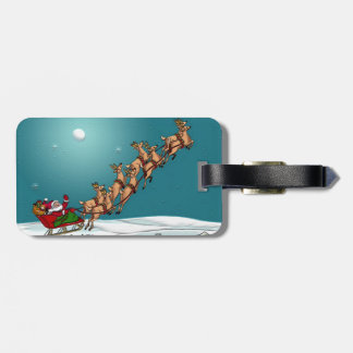 Traditional Christmas Santa and Reindeer Luggage Tag