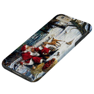 Traditional Christmas Santa in the Park Tough iPhone 6 Plus Case
