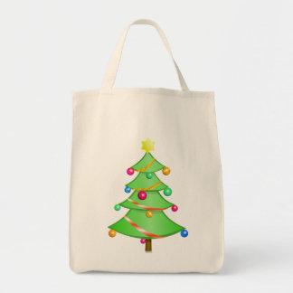 Traditional Christmas Tree Grocery Tote Bag