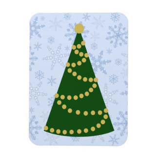 Traditional Christmas Tree on Snowflake Blizzard Magnet