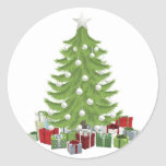 Traditional Christmas Tree Round Stickers