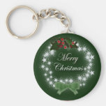 Traditional Christmas Wreath and mistletoe Basic Round Button Key Ring