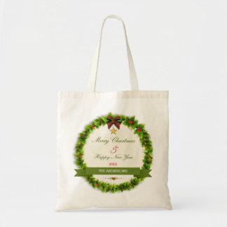 Traditional Christmas wreath illustration Budget Tote Bag