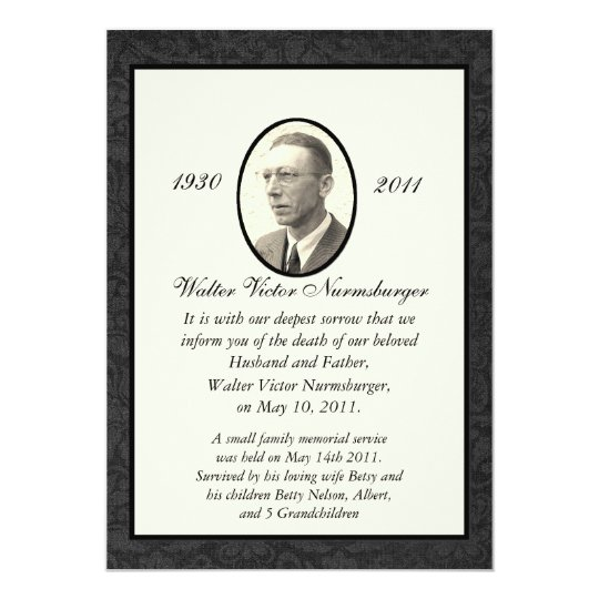 Funeral Invitation Template. Death Announcement Templates Funeral ...