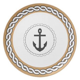 """""""Traditional Designs"""" Black Anchor & Tan Party Plates"""