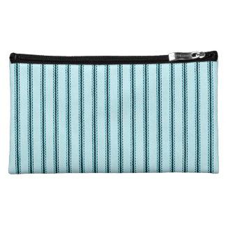 """Traditional Designs"" Pillow Tick Blue Makeup Bags"